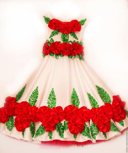 Одежда для девочек, ручной работы. Ярмарка Мастеров - ручная работа. Купить Платье вышитое лентами. Handmade. Комбинированный, платье на заказ