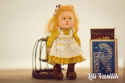 Коллекционные куклы ручной работы. Ярмарка Мастеров - ручная работа. Купить Моя птичка!. Handmade. Желтый, картина