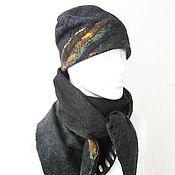 Аксессуары ручной работы. Ярмарка Мастеров - ручная работа Седой декабрь валяный мужской шарф и шапка. Handmade.