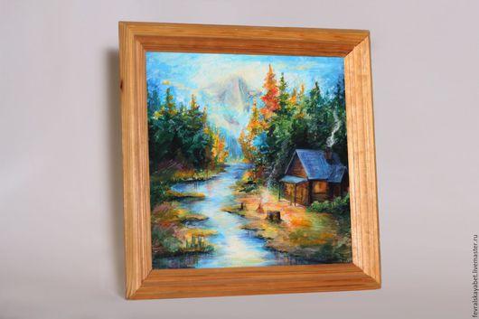 Пейзаж ручной работы. Ярмарка Мастеров - ручная работа. Купить По мотивам Томас kinkade. Handmade. Оранжевый, домик, река