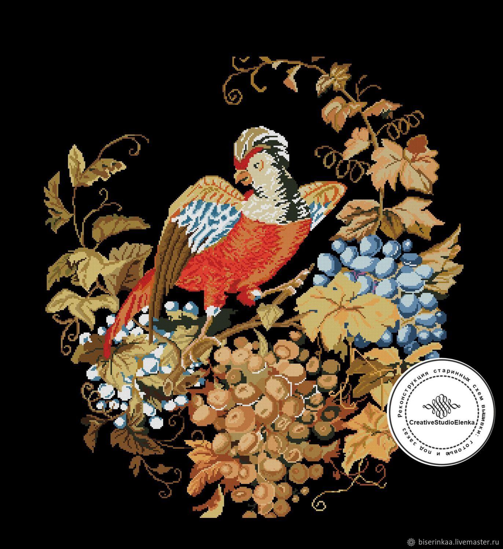 """Винтажная схема вышивки """"Попугай и виноград"""", Схемы для вышивки, Таганрог,  Фото №1"""