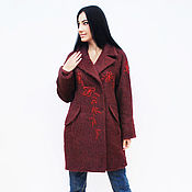 Одежда handmade. Livemaster - original item Stylish wool cocoon coat with hand embroidery