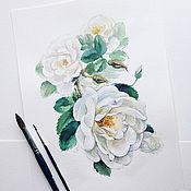 Картины и панно handmade. Livemaster - original item White rose, watercolor. Handmade.