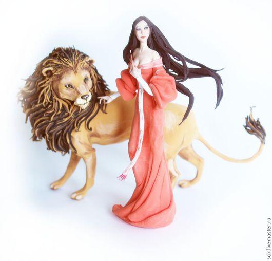 """Подарки по знакам Зодиака ручной работы. Ярмарка Мастеров - ручная работа. Купить фигурка """"Лев и дева"""" (статуэтка льва, знаки зодиака лев и дева). Handmade."""