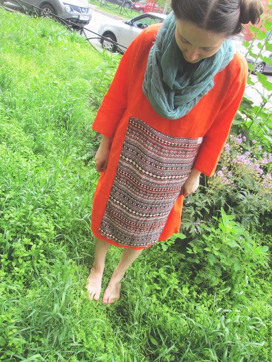 Платья ручной работы. Ярмарка Мастеров - ручная работа. Купить яркий оранжевый мешок. Handmade. Рыжий, лето 2016, море