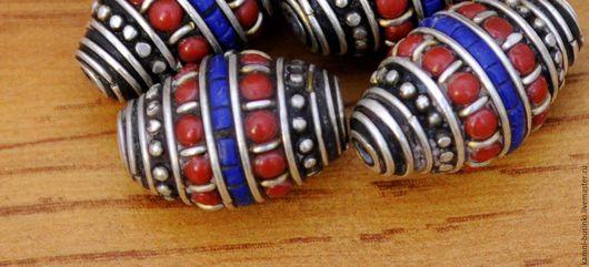 Для украшений ручной работы. Ярмарка Мастеров - ручная работа. Купить Бусины латунь лазурит коралл ручной работы Непал. Handmade.