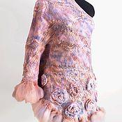 """Аксессуары ручной работы. Ярмарка Мастеров - ручная работа Шаль """"Софи"""" (серо-розовая). Handmade."""
