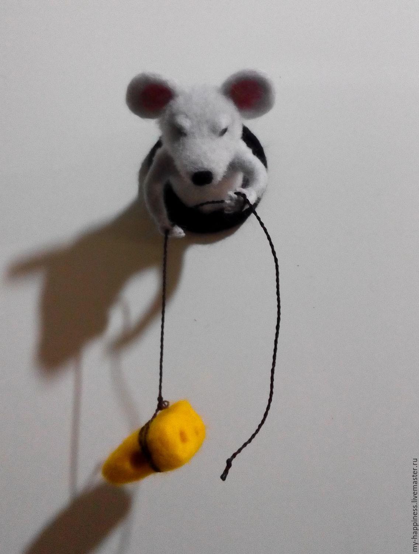 Купить Магнит на холодильник Мышка-Воришка - комбинированный, мышка, мышь, мышонок, мышь валяная, сыр