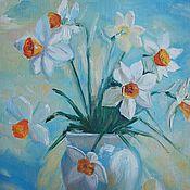 Картины и панно ручной работы. Ярмарка Мастеров - ручная работа Нарциссы, картина, масло 30х40. Handmade.