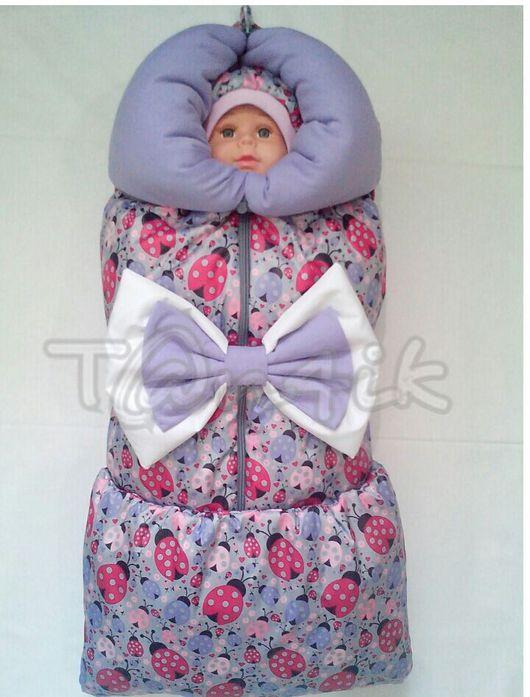 """Для новорожденных, ручной работы. Ярмарка Мастеров - ручная работа. Купить Одеяло-трансформер """"Божьи коровки"""" сирень. Handmade. Конверт"""