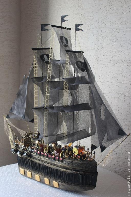Букеты ручной работы. Ярмарка Мастеров - ручная работа. Купить Пиратский корабль. Handmade. Коричневый, конфетный подарок