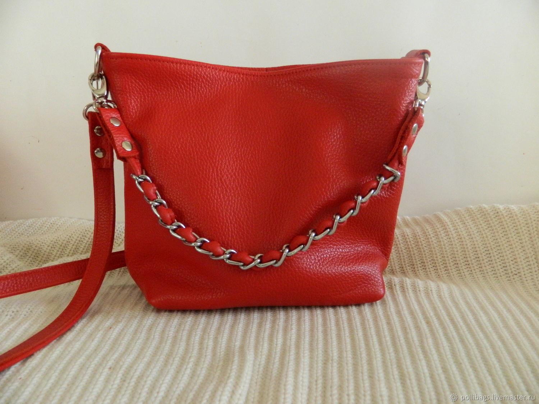 8b3922022c1c Handbags handmade. Livemaster - handmade. Buy Leather bag shoulder Bag hobo small  Red.
