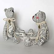 Куклы и игрушки ручной работы. Ярмарка Мастеров - ручная работа Газетные тильда мишки Румянчик и Графитик. Handmade.