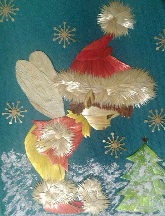 """Фэнтези ручной работы. Ярмарка Мастеров - ручная работа. Купить Панно""""Рождественский эльф"""". Handmade. Панно, Соломка, солома, скорлупа яичная"""