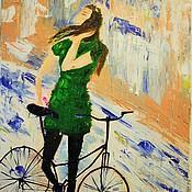 Картины и панно ручной работы. Ярмарка Мастеров - ручная работа девушка с велосипедом 50-35 (скидка) не нужна рама. Handmade.
