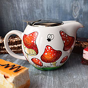 """Посуда ручной работы. Ярмарка Мастеров - ручная работа """"Мухоморы"""" - чайный набор (0170). Handmade."""