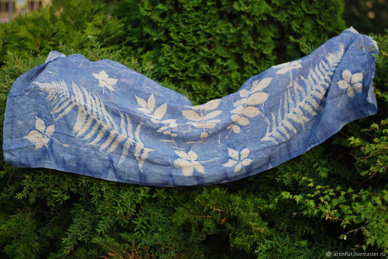 A soft linen scarf 'Fern and walnut' blue ekoprint, Scarves, Moscow,  Фото №1