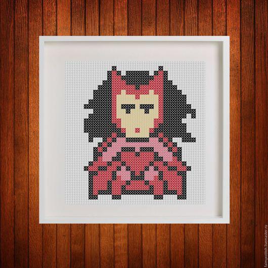 """Вышивка ручной работы. Ярмарка Мастеров - ручная работа. Купить Схема для вышивки крестом """"Алая ведьма - Scarlet witch"""". Handmade."""