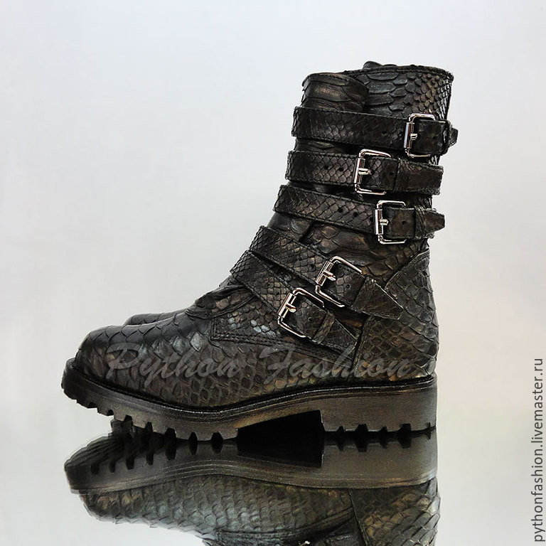 Shoes from Python. Women's high boots Python lace. Designer boots made from Python. Fashionable women's shoes from Python custom. Women's shoes Python skin custom. Stylish shoes