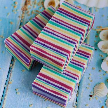 Косметика ручной работы. Ярмарка Мастеров - ручная работа Натуральное мыло ЛЕТО фруктовое мыло полосатый разноцветный. Handmade.