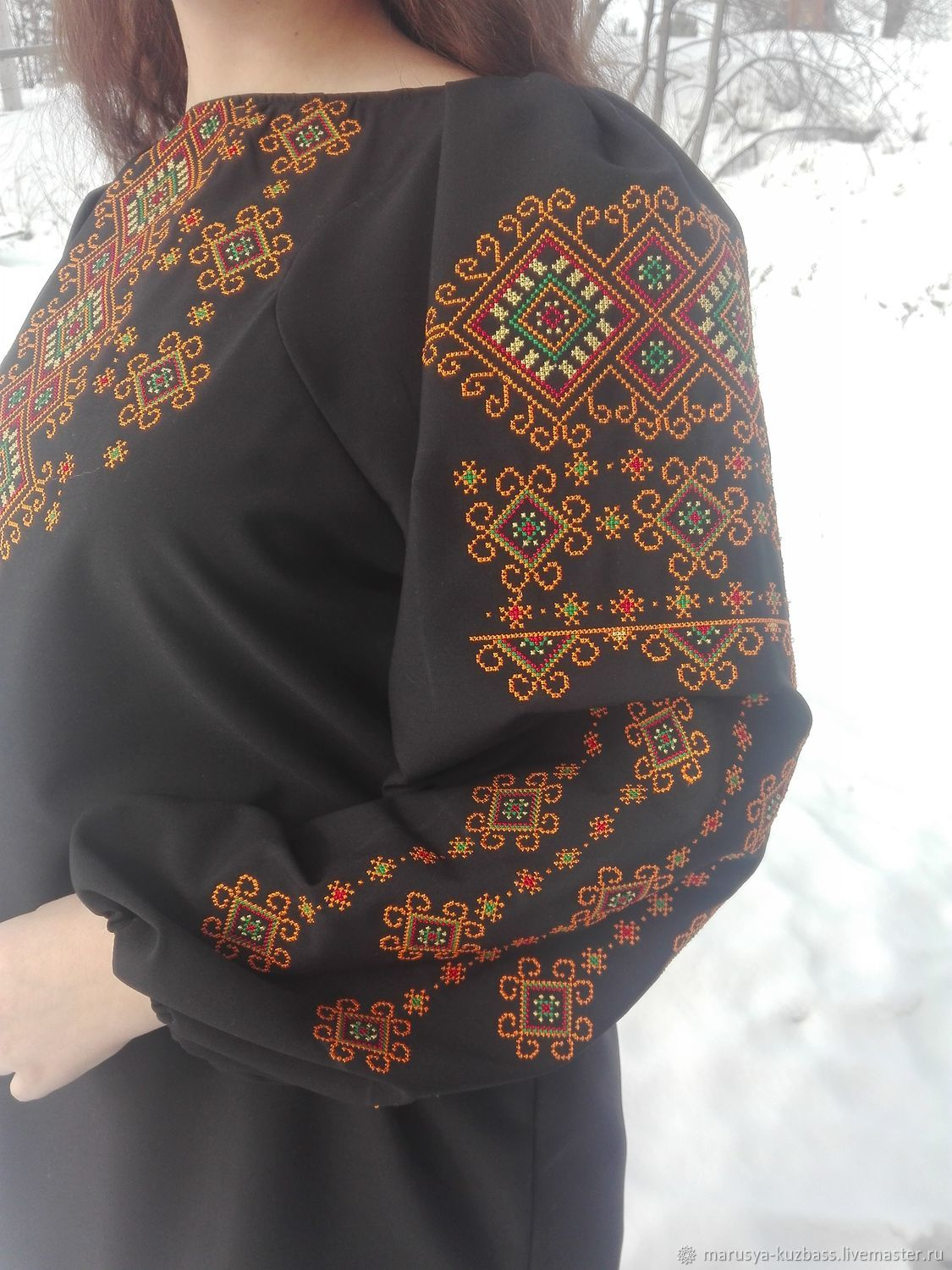 Blouse black with embroidery 'Chara', Blouses, Kemerovo,  Фото №1