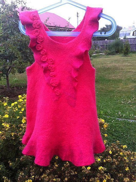 Одежда для девочек, ручной работы. Ярмарка Мастеров - ручная работа. Купить зимний валянный сарафанчик для девочки. Handmade. Фуксия, шерсть