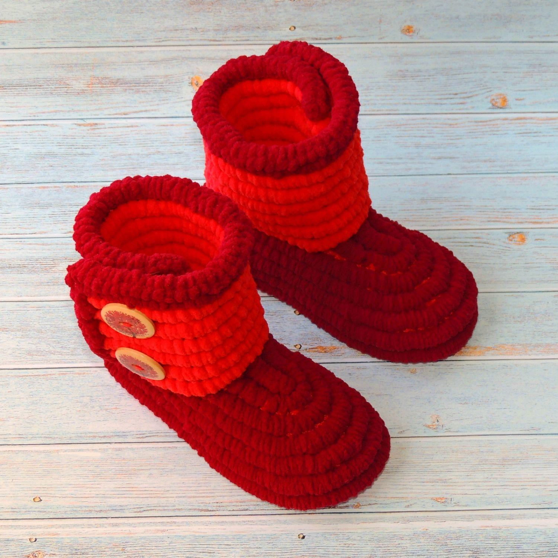 ad540e221 Сапожки вязаные плюшевые для улицы, вязаная обувь, детская обувь ...