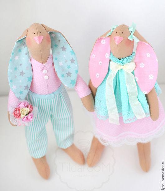 Зайцы Тильда в мятно-розовой цветовой гамме. Кукла Тильда. Авторская ручная работа. Мастерская `Tildaroom` (Люба Морозова) ©