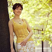 """Одежда ручной работы. Ярмарка Мастеров - ручная работа Вязаная юбка """"Белые цветы"""". Handmade."""