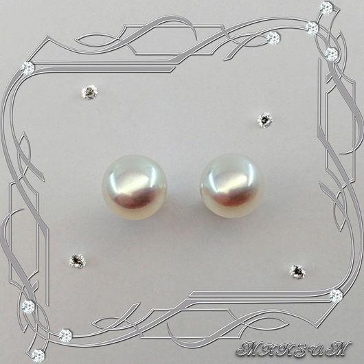 Pearl-Big Pearl stud earrings, 925 sterling silver. VIDEO, Earrings, St. Petersburg,  Фото №1