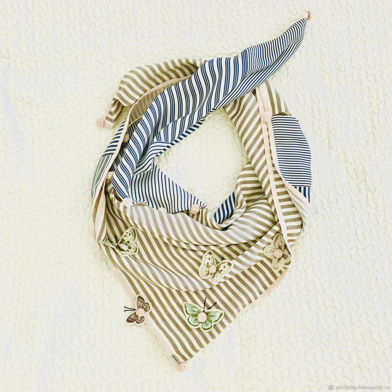 Шелковый платок. Бабочки, розочки-полосочки. Шелк Loro Piana, Платки, Санкт-Петербург,  Фото №1