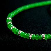 Украшения handmade. Livemaster - original item Izumrudno - short thin necklace jadeite. Handmade.