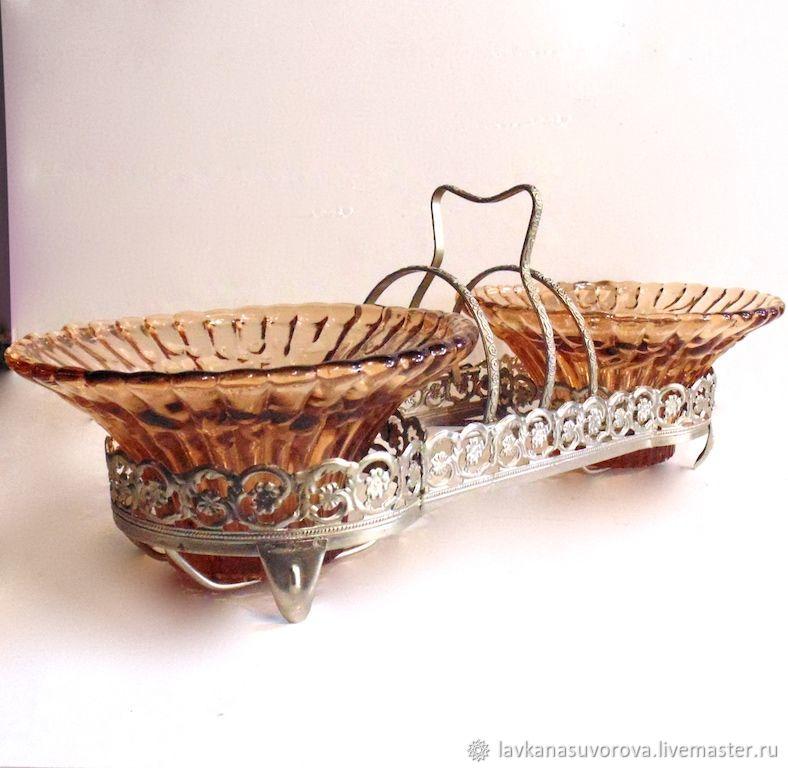 Double vase bowl Melchior USSR glass, Vintage kitchen utensils, Rostov-on-Don,  Фото №1