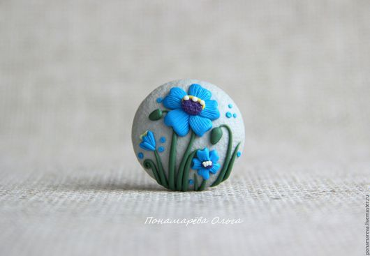 Броши ручной работы. Ярмарка Мастеров - ручная работа. Купить Синие цветы. Брошь. Handmade. Брошь цветок, маленькая брошь