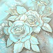 """Одежда ручной работы. Ярмарка Мастеров - ручная работа Блуза шелковая """"Нежно-голубые розы"""" - батик. Handmade."""
