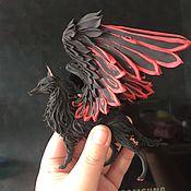 """Русский стиль ручной работы. Ярмарка Мастеров - ручная работа фигурка """"красно-черный волк"""" (статуэтка крылатого волка симурана). Handmade."""