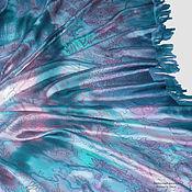 Бирюза на выход - шелковый платок шаль с ручной росписью и бахромой