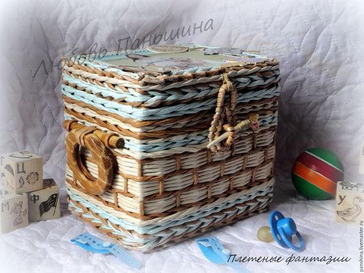 Двойной плетеный сундучок `Мамины сокровища` для троих малышей