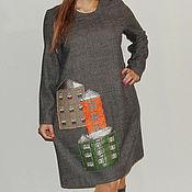 Одежда ручной работы. Ярмарка Мастеров - ручная работа Платье из шерсти Города П-141. Handmade.
