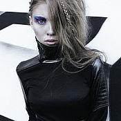 Одежда ручной работы. Ярмарка Мастеров - ручная работа Черное кожаное платье. Handmade.
