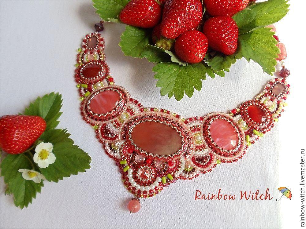 Handmade necklace.Beaded embroidery.Elena (Rainbow Witch). Fair Masters.