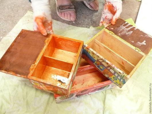 Реставрация. Ярмарка Мастеров - ручная работа. Купить Реставрация шкатулки после декупажа.. Handmade. Реставрация, дерево, латунь