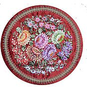 """Картины и панно ручной работы. Ярмарка Мастеров - ручная работа """"Жостовский поднос"""" на красном фоне-вышивка лентами. Handmade."""