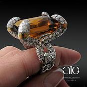 Украшения handmade. Livemaster - original item Ring with citrine and CZ. 925 sterling silver, gilding 24K. Handmade.