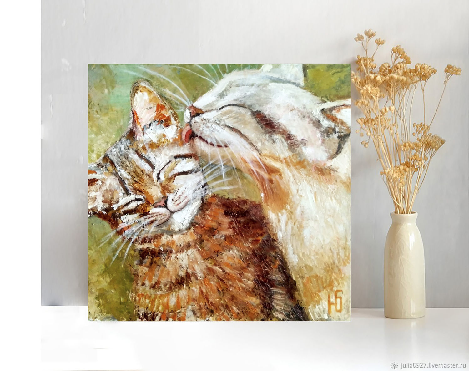 Oil painting cat and cat, romance Warm stories about the main thing, Pictures, Ekaterinburg,  Фото №1