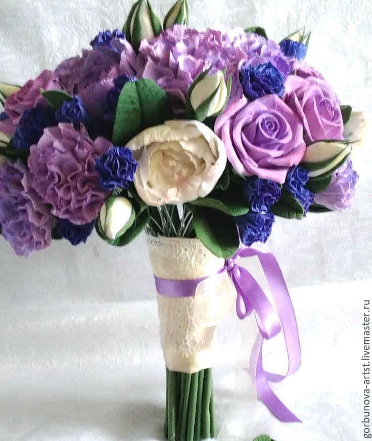 Сиреневый свадебный букет фото