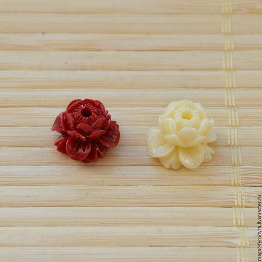 Для украшений ручной работы. Ярмарка Мастеров - ручная работа. Купить Резной цветок лотоса. Handmade. Ярко-красный