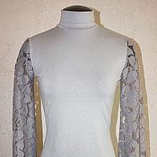 Одежда handmade. Livemaster - original item Turtleneck with lace sleeves. Handmade.