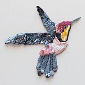 Аппликации ручной работы. Ярмарка Мастеров - ручная работа Аппликации: Аппликация Люневильская вышивка Птица Колибри 35 долларов. Handmade.