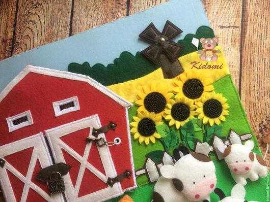 """Развивающие игрушки ручной работы. Ярмарка Мастеров - ручная работа. Купить Мастер-класс по пошиву разворота  """"Ферма"""" из развивающей книжки. Handmade."""